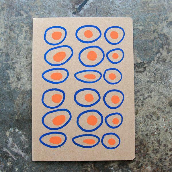 Carnet-Notebook kraft graphique rond orange-bleu