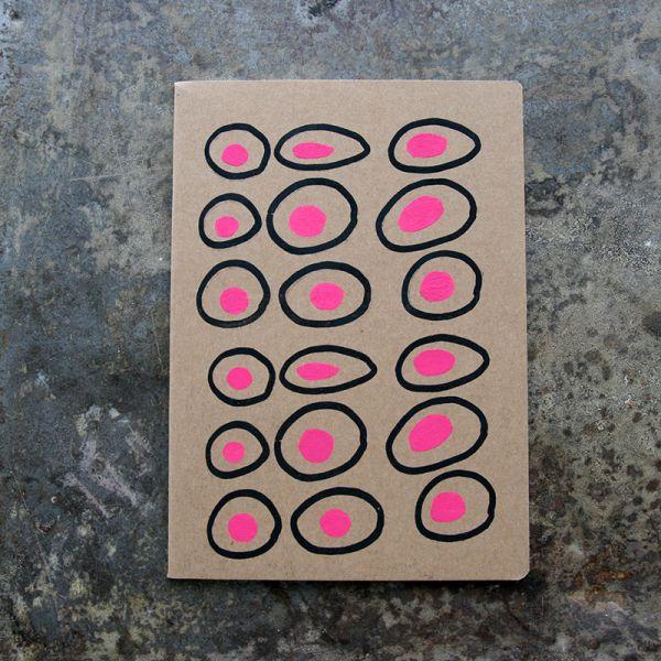 Carnet-Notebook kraft graphique noir et rose