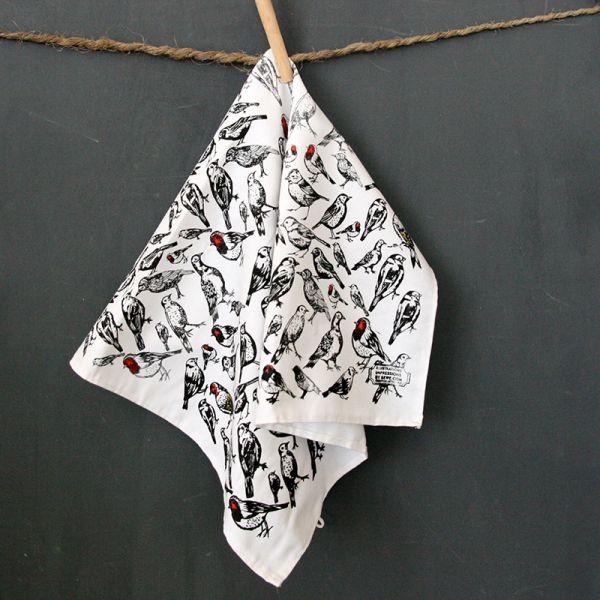 Torchon de cuisine en coton -Tea towel - Oiseaux