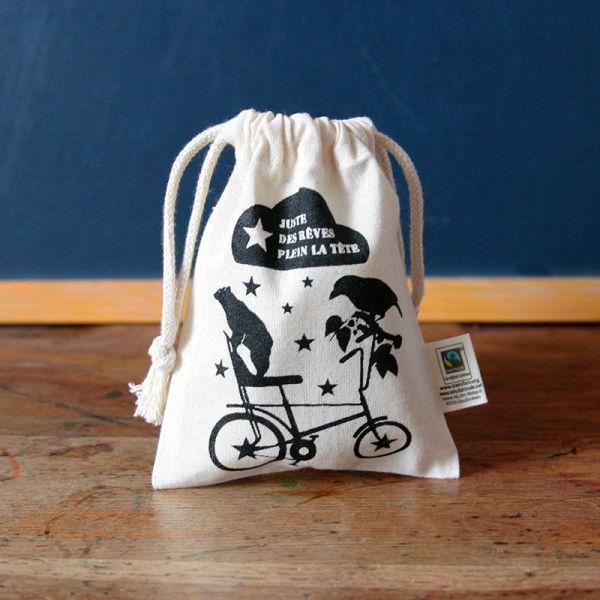 Pochon Oiseau-Ours - Sac à gouter enfant coton Bio-Fairtrade