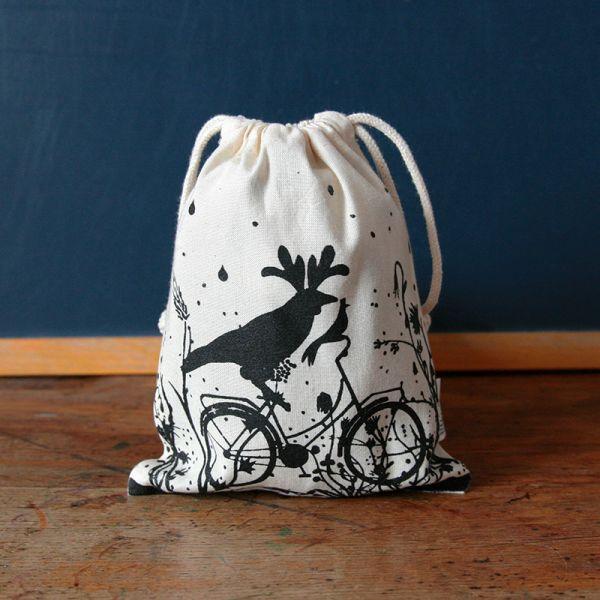 Pochon Oiseau sur son vélo - Sac à gouter enfant coton Bio-Fairtrade