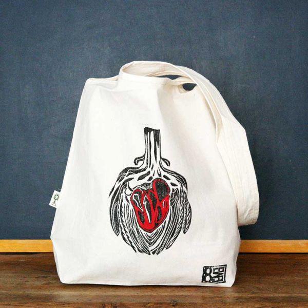 Tote bag - Sac en coton Bio - Coeur d'artichaut rouge