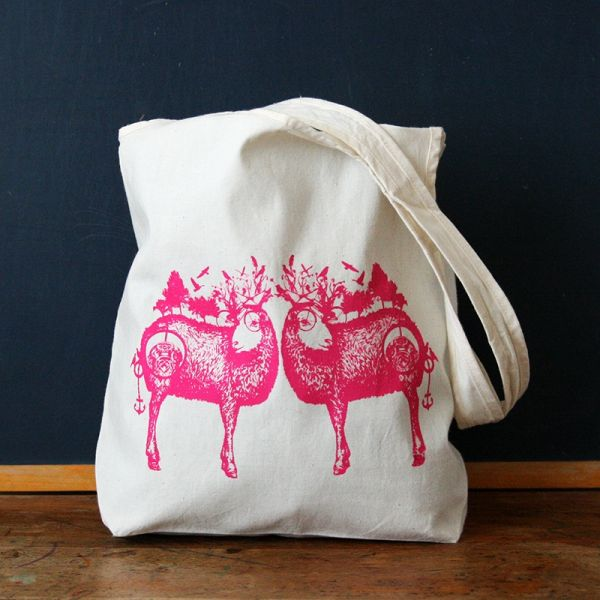 Tote bag - Sac en coton Bio - Mouton Rose