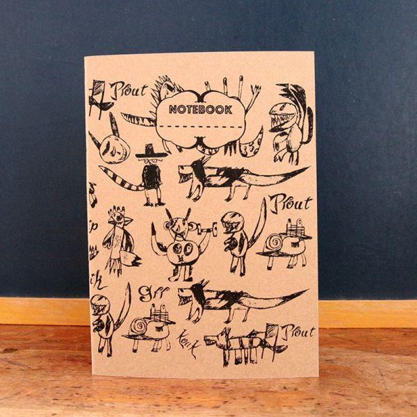 Notebook A5 - Carnet de note - Cahier sérigraphié - Carnet de dessin - monstres