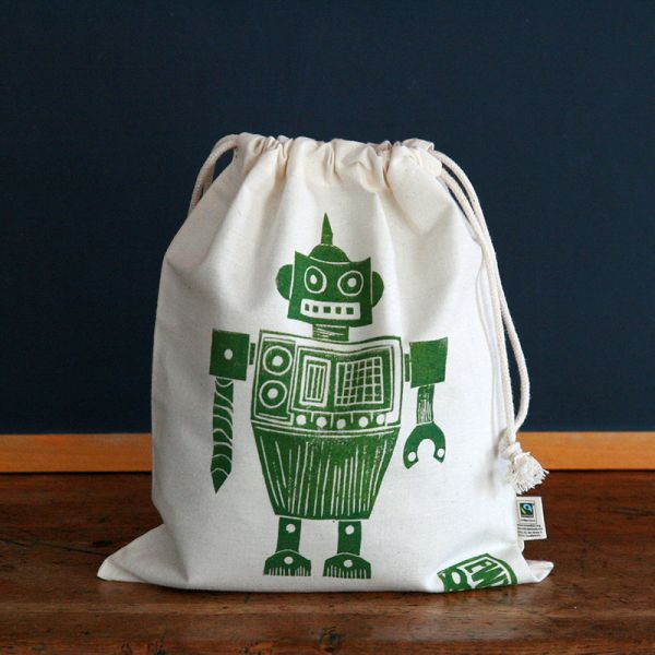 Pouch - Child snack bag - Green robot