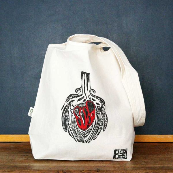 Tote bag - Bag with organic cotton - Red artichoke heart