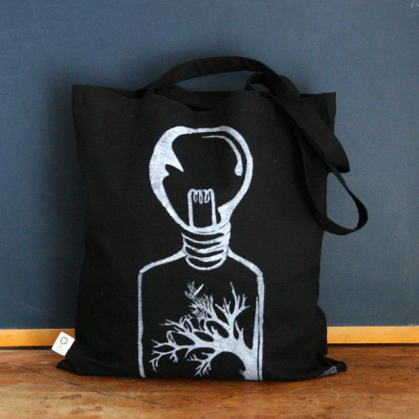 Black tote bag - Bag with organic cotton - Bulb