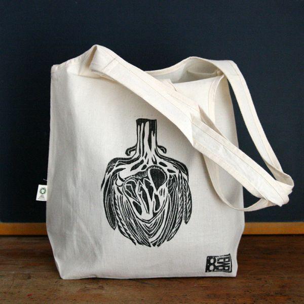 Tote bag - Bag with organic cotton - Artichoke heart
